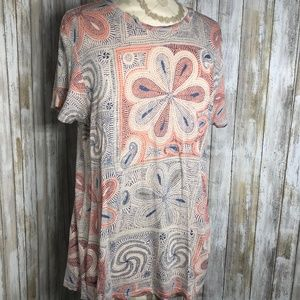LUCKY BRAND PAISLEY BOHO FLORAL T-SHIRT TOP LARGE